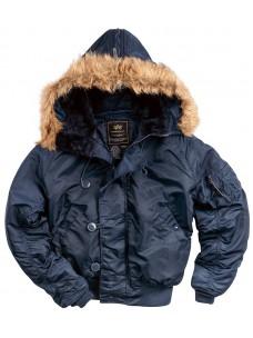 Куртка-пилот Alpha Ind. (1285) капюшон/мех синяя