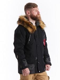 Куртка 7.26 (088) утепленная синтепон капюшон/мех черная