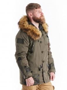 Куртка 7.26 (088) утепленная синтепон капюшон/мех олива