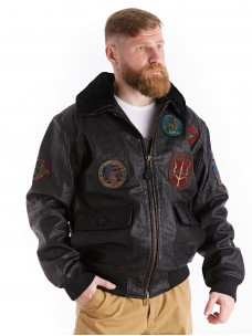Куртка лётная кожаная G-1 Top Gun черная